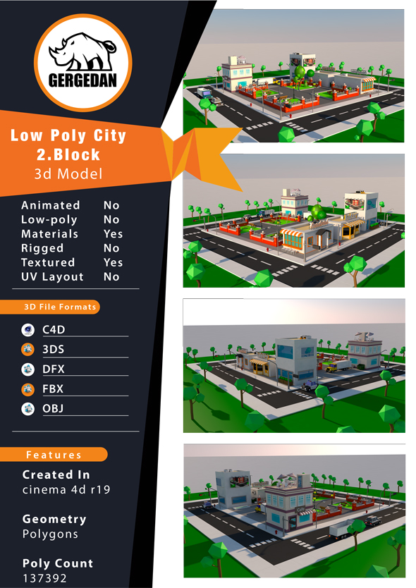 Low Poly City Pack CG Textures & 3D Models from 3DOcean