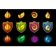 Four Elements Nature Icons Wooden Shield Set - GraphicRiver Item for Sale