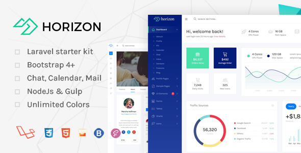 Horizon - Laravel + Bootstrap 4 Admin Dashboard Template