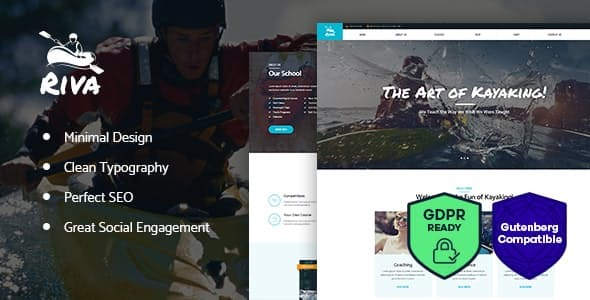 Kayaking / Paddling /  Water Sports & Outdoors WordPress Theme