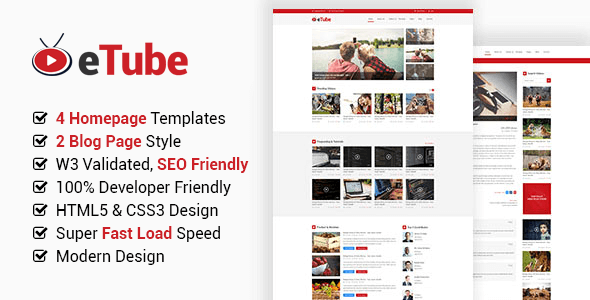 eTube - HTML5 Video Blog / Magazine / Entertainment Site Template