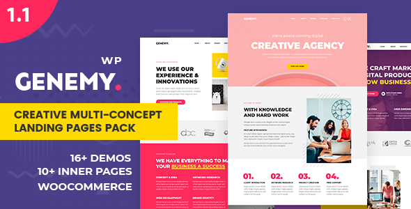 Genemy – Creative Multi Concept Landing Pages Pack With Page Builder