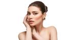 girl applying moisturizing cream isolated on white - PhotoDune Item for Sale