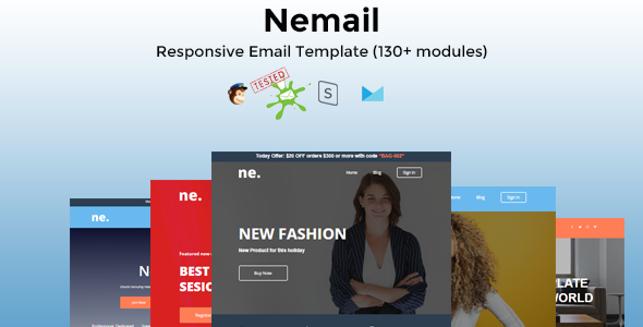 NEMAIL - Best Responsive Email Template with 130+ Modules + Stampready Builder and MailChimp Editor