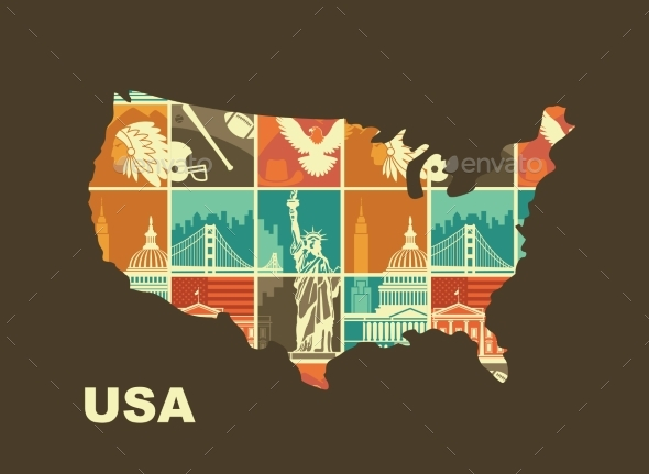 Map of the USA with Traditional Symbols