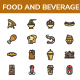 Food and Beverage Filled Line Icon set - GraphicRiver Item for Sale