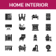 Home Interior Glyph Icon Set - GraphicRiver Item for Sale