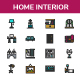 Home Interior Filled Line Icon Set - GraphicRiver Item for Sale