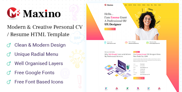 Maxino - Personal Resume HTML5 Template