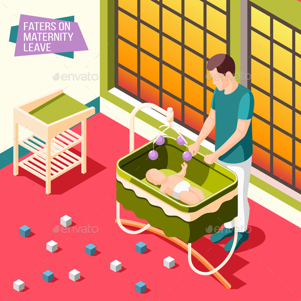 Fathers on Maternity Leave Isometric Poster