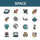 Space - Filled Line Icons Style - GraphicRiver Item for Sale