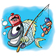 Cartoon Fish Character Goes Fishing Together - GraphicRiver Item for Sale