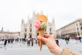 Travel, Italy, gelato and holidays concept - Ice cream in front of Milan Cathedral Duomo - PhotoDune Item for Sale