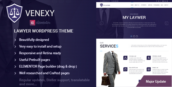 Lawyer Elementor WordPress Theme - Venexy