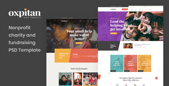 Oxpitan - Nonprofit Charity and Fundraising PSD Template