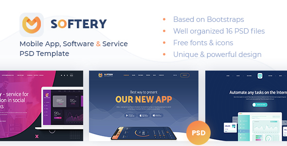 Softery -  Mobile App, Software & Service PSD Template