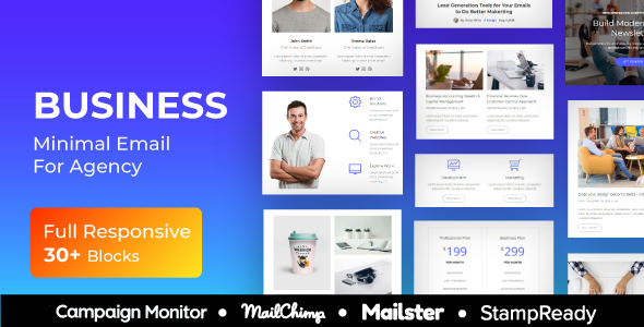 Business – Multipurpose Responsive Email Template + Mailster + StampReady Builder + Mailchimp Editor