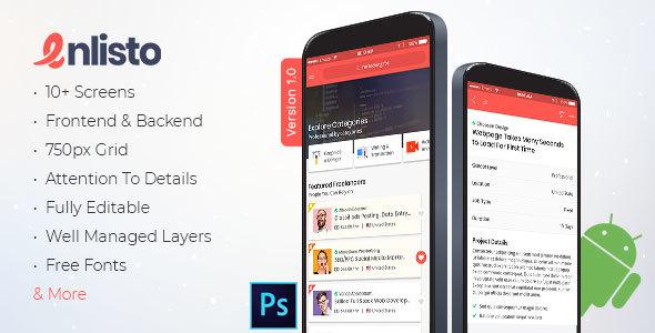Enlisto - Mobile App PSD Template