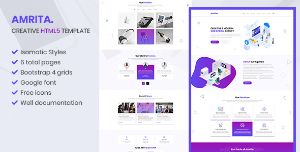 Amrita – Creative Multipurpose  HTML Template