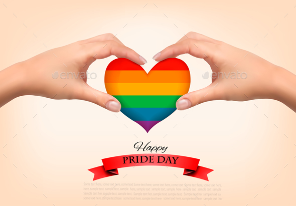 Gay Pride Concept Rainbow Heart Shaped in Hands