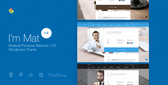 I am Mat - Material Personal Resume / CV vCard WordPress Theme