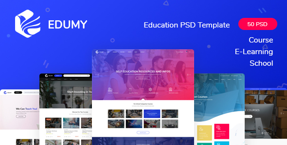 Edumy - LMS Online Education Course & School PSD Template