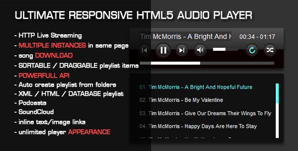 Odtwarzacz audio HTML5 z listą odtwarzania