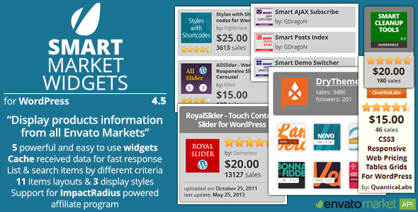 Smart Market Widgets - Plugin for WordPress and Envato Market