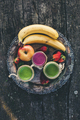 Fresh smoothies on rustic saucer. On top perspective. - PhotoDune Item for Sale