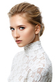 beautiful dark blonde girl with natural makeup isolated on white - PhotoDune Item for Sale