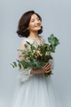 beautiful girl in white dress with big bouquet - PhotoDune Item for Sale