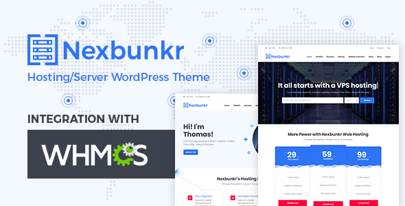 Nexbunker - Hosting/Server WordPress Theme + WHMCS