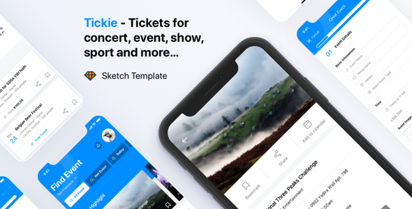 Tickie - Event & Conference Tickets Apps Sketch Template