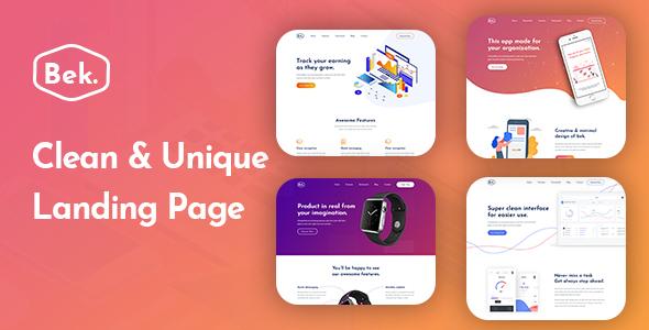 Bek - Sass & App Landing PSD Template