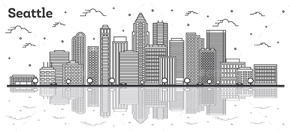 Outline Seattle Washington City Skyline with Modern Buildings and Reflections Isolated on White.