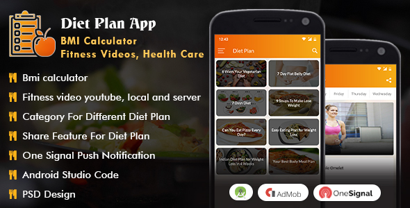 Android Diet Plan App (BMI Calculator, Fitness Videos, Health Care) Download