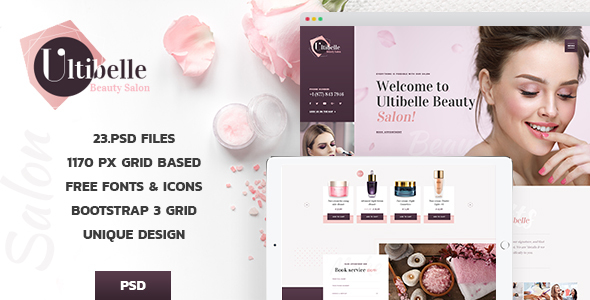 Ultibelle -  Beauty Salon, Hairdresser & Nail Center PSD Template