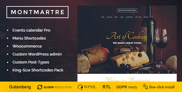 Montmartre - Cafe & Restaurant WordPress Theme