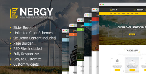 Energy - solar and wind alternative power WordPress Theme