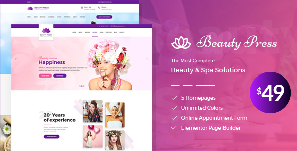 Beauty Salon Spa WordPress Theme - BeautyPress