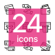 Set of 24 Payment, Money, Finance, Card and Cash Vector Line Icons - GraphicRiver Item for Sale