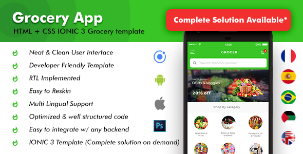 Grocery Android App + Grocery iOS App Template (HTML + CSS files in IONIC 3) | Grocer