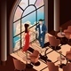 Woman and Man in Restaurant Near Window - GraphicRiver Item for Sale
