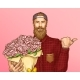 Hipster Man with Bouquet of Roses Vector - GraphicRiver Item for Sale