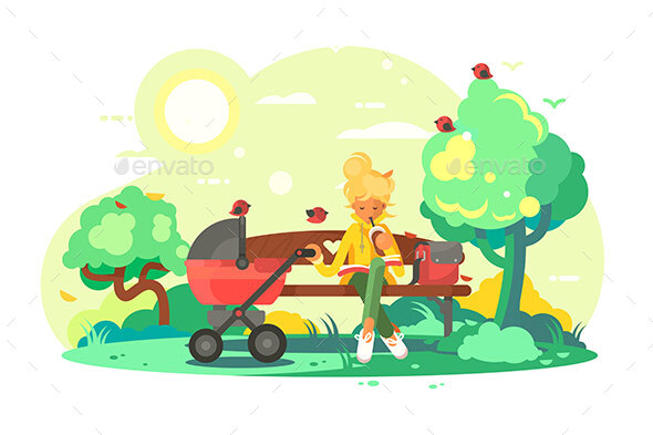 Mother with Baby Carriage in Park