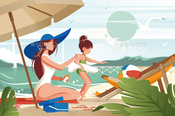 Flat Young Woman Mother with Hat Smears Sunblock