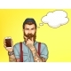 Hipster Man Showing Mobile Phone Cartoon Vector - GraphicRiver Item for Sale