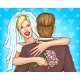 Happy Newlyweds Hugging Cartoon Vector Concept - GraphicRiver Item for Sale