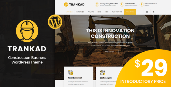 Trankad - Construction WordPress Theme