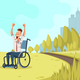 Happy Disabled Worker Cheer in Green City Park - GraphicRiver Item for Sale